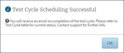 Test Cycle Scheduling Successful