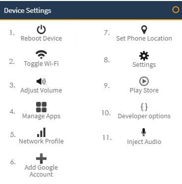 mobile device settings