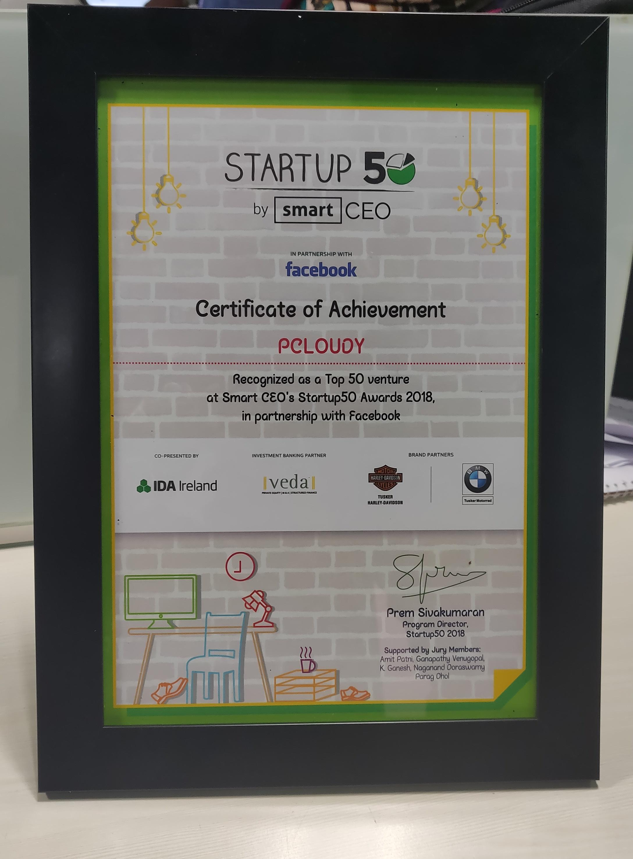 The Smart CEO Startup50 Award