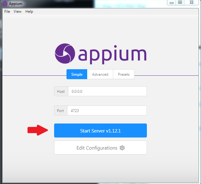 ApAppium Start Server v1.12.1