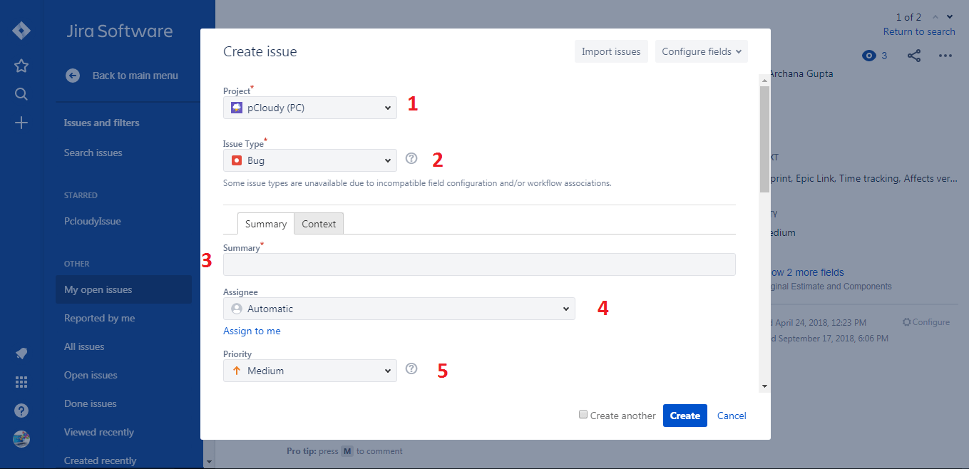 Creating an Issue in Jira
