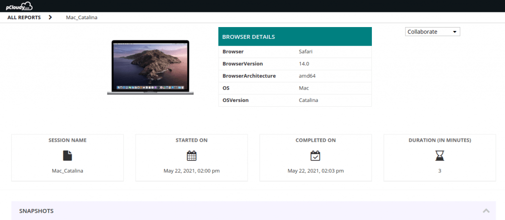 pCloudy device page